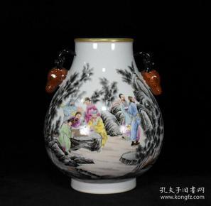 清乾隆珐琅彩描金竹林七贤鹿头尊 24.5x20