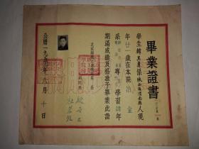 1954年北京钢铁工业学院毕业证书(北京科技大学教授,博士导师,中国金属学会理事,中国稀土学会理事韩其勇的)