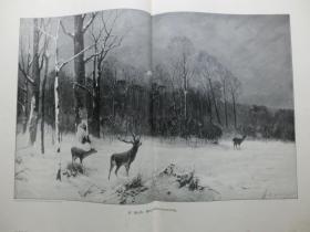 【现货 包邮】1890年巨幅木刻版画《林中的黄昏》斜阳、白雪、麋鹿( Abendd?mmerung ) 尺寸约56*41厘米 尺寸约56*41厘米 (货号601078)