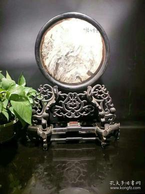 民国时期紫檀玉石插屏,镂空雕刻样式精美完整漂亮!