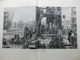 【现货 包邮】1890年巨幅木刻版画《围城》( Alesia ) 尺寸约56*41厘米 尺寸约56*41厘米 (货号601080)