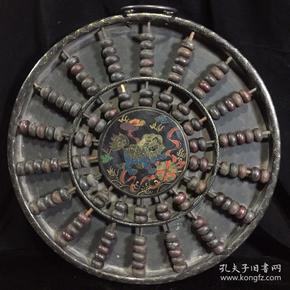 木胎漆器描金算盘,细节如图,古玩古董 老漆器手绘图案圆算盘