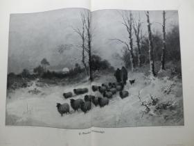 【现货 包邮】1890年巨幅木刻版画《冬季牧歌》夕阳、白雪、羊群、牧羊人( Winteridyll) 尺寸约56*41厘米 尺寸约56*41厘米 (货号601081)