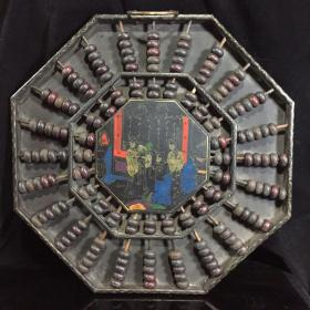 木胎漆器描金算盘,细节如图,八角算盘