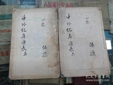 中外纪年通表  清 光绪23年上海著易堂石印本  白纸二册   钟佛操藏书