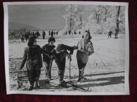老照片   几位匈牙利姑娘正在 玛塔拉山的斜坡上学习滑雪  麻面厚纸      照片20厘米宽15厘米    B箱——19号袋