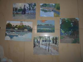 顾卫新 1977年水粉画写生6幅(天津水上公园)