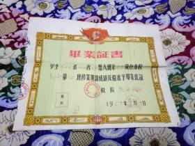 1959年长沙市岳北乡咸嘉湖完全小学毕业证书