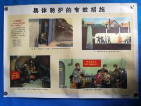 1971年宣传画三防挂图十四集体防护的有效措施对开挂图