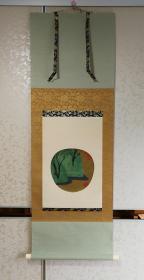 【尾形光琳:龙田川图(木板水印版画)】按原作木板色刷复制品,版刻精细,刷印使用矿物颜料,色泽醇厚,三色绫绢精裱,桐木盒装