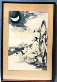 近現代國畫大師-杜白洋-《李白邀月圖》