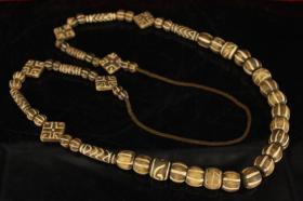 西藏寺院收老木化石天珠项链一条