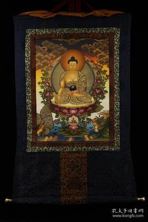 顶级画师纯手工天然矿物颜料手绘释迦摩尼佛祖唐卡一张
