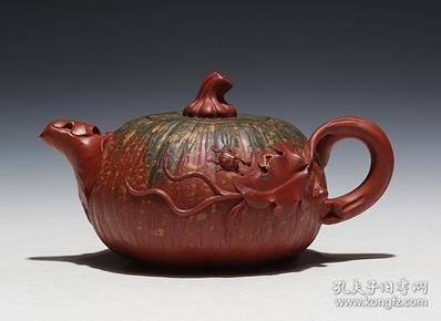 【正品保证】宜兴紫砂壶名家国工艺美术师全手工功夫彩色南瓜壶