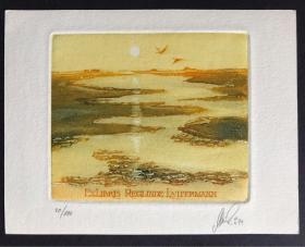 瑞士套色铜版版画藏书票原作 阳光下的河流