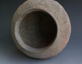 极品顶级纯非常稀有春秋陶罐,春秋陶器【米字纹】硬陶罐收藏珍品