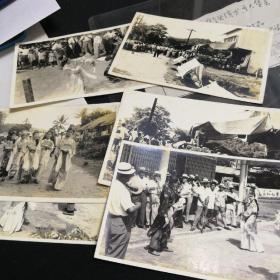 民国广东南洋地区街头卖艺演出、民间集会原版照片6张