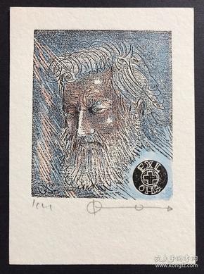 德国石版版画藏书票原作 头像