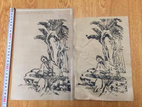 清晚期日本石版印刷《蕉下抚琴图》两幅