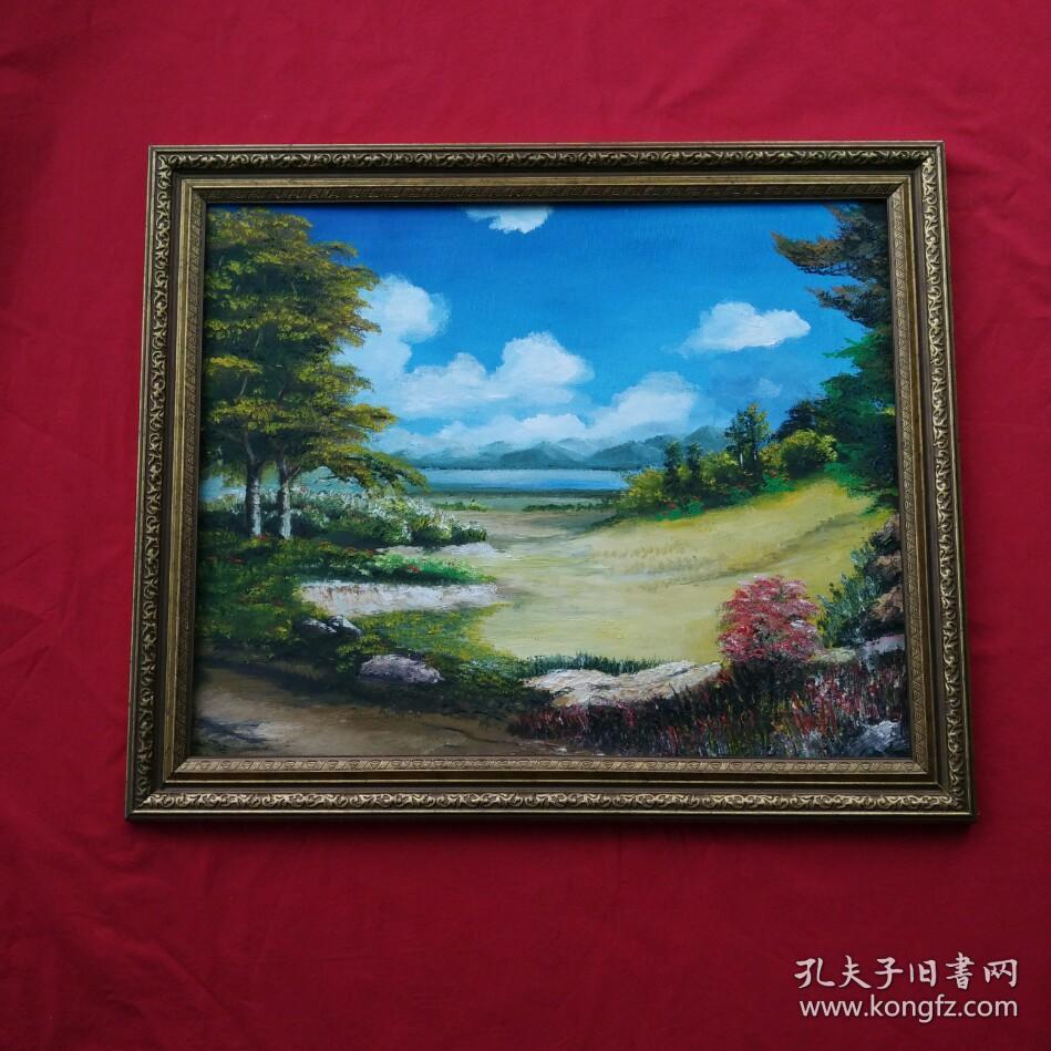 手绘油画郊外自然风景画山水画家居房间新居入伙走廊过道玄关挂画