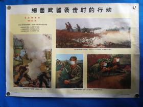 1971年宣传画三防挂图二十一毛主席语录细菌武器袭击时的行动对开挂图