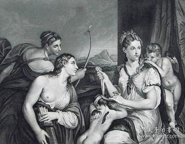 """""""提香 Titian""""名画1880年""""意大利艺术瑰宝""""系列钢板画—《维纳斯蒙住丘比特的眼睛》意大利文艺复兴时期画家""""维切里奥·提香(Vecellio Titian 1490-1576)""""作品  30x23cm"""