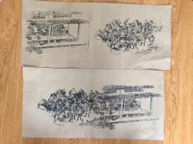 清晚期日本石版印刷《作坊群作图》两幅