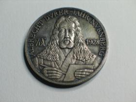闲山集推荐的银币——德国1928年纪念艺术大师丢勒逝世400周年的大银章  雕刻家Josef Bernhart作品  (永久保真)