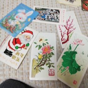 八十年代6张贺卡,兔子红眼睛可动,西安交大校园纪念卡,卡片均有书写字迹