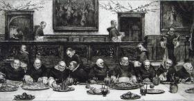 """1885年蚀刻铜版画《星期五的餐会》—""""W. Dendy Sadler""""作品 32x24cm"""