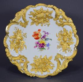 梅森纯金鎏金赏盘 尺寸:直径23.5CM 年代:1850-1923 ,13602#