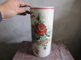 文革玫瑰花图老帽筒-3