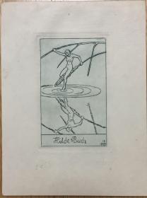 德国著名艺术家Robert Budzinski铜版藏书票芦草上蜻蜓点水的裸女