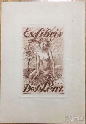 德国早期铜版藏书票草地上的女孩