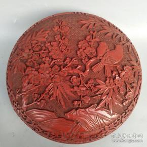 国礼剔红漆器盒《喜鹊登梅》尺寸如图,重量1440克