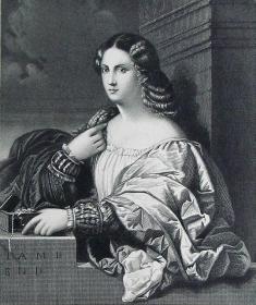 """""""提香 Titian""""名画1880年""""意大利艺术瑰宝""""系列钢板画—《美丽的女人》意大利文艺复兴时期画家""""维切里奥·提香(Vecellio Titian 1490-1576)""""作品  30x23cm"""