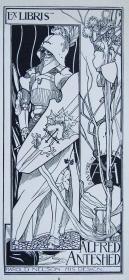 """""""新艺术名作""""英国艺术家""""Harold E.H.Nelson""""线刻藏书票—《武士》"""