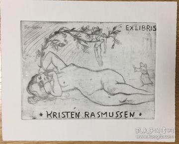 德国艺术家Erwin Theermann(1905-1927)铜版酸刻精品藏书票玫瑰花下死