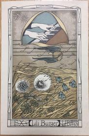 瑞典著名插画家Ernst Kreidolf石版套色藏书票飘动的音符是蒲公英的种子