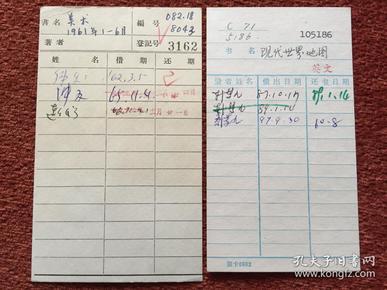 《1962-1997年图书借阅卡》2张合售,金冲及?、韩梦九等签名