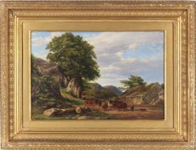 英国19世纪古董风景油画 尺寸:64×49CM 作者:(英)布鲁克.史密斯 年代:1865 画面描绘了乡村农家和优美的风景,品相非常好 80118#