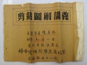 *少见 1954年9月1日厦门鼓浪屿(剪裁图解讲义) 妇女缝纫毕业书 一本