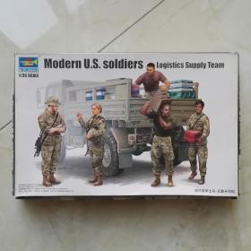 现代美军士兵 后勤补给组 拼装玩具 军事模型玩具