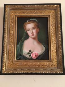 法国回流19世纪古董人物肖像油画 尺寸:61×51.5CM 有签署,实木鎏金画框,52346#