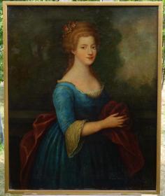 法国18世纪古董人物肖像油画 尺寸:106.5×87CM 材质:布面油画 画面描绘了一位18世纪法国青年贵族女子的形象,颈部和手臂有局部小修复,余完好,整体品相不错。03471#