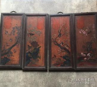 早期漆器挂屏一套 四扇 木框木胎漆器描彩花鸟挂牌