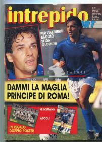 意大利原版足球杂志  INTREPIDO 巴乔 意大利 曼奇尼 1989年49期