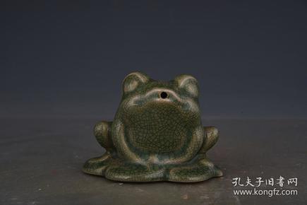 宋汝窑绿釉青蛙水滴