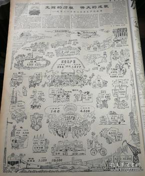 永葆人民军队的本色——我军参加支援社会主义建设三十周年。第四版,大图,光辉的历程,伟大的成就——建国三念来工业农业生成就图。1979年9月23日《解放军报》