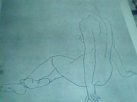 8开素描单页女人体 王维新画